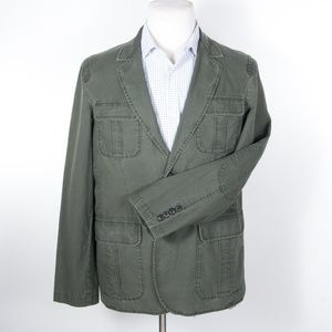 LL Bean Green Cotton Safari Travel Blazer